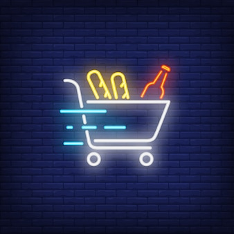Neon icon of food delivery