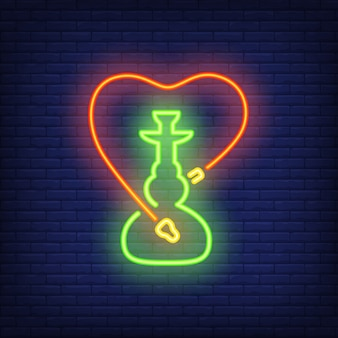 Neon icon of hookah with heart shaped hose