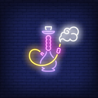 Neon icon of hookah with smoke