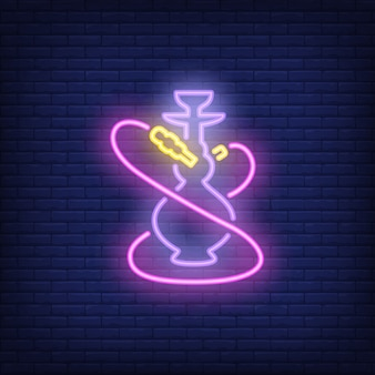 Neon icon of hookah with two pink hoses