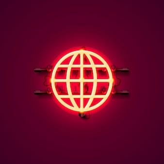 Неоновая вывеска интернет значок на красном фоне. векторная иллюстрация