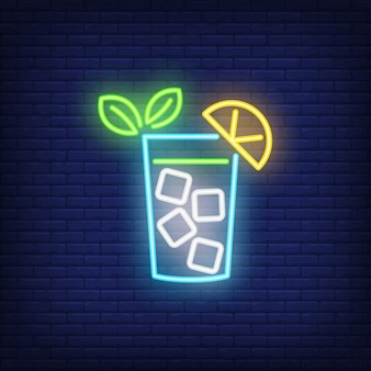 Neon icon of lemonade