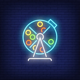 Neon icon of lottery drum