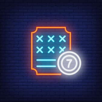 Neon icon of lottery ticket
