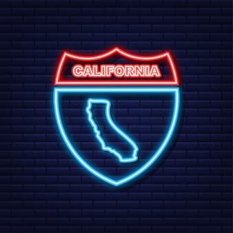 Неоновая карта с изображением штата калифорния из соединенных штатов америки. векторная иллюстрация.