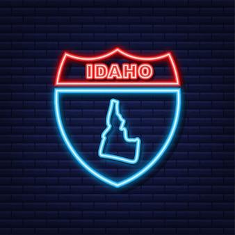 Неоновая карта с изображением штата айдахо из соединенных штатов америки. векторная иллюстрация.