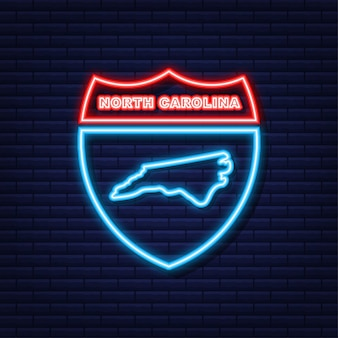 Neon icon map of the state of north carolina from the united state of america. vector illustration.