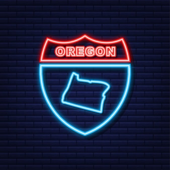 Neon icon map of the state of oregon from the united state of america. vector illustration.