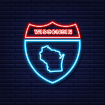 Neon icon map of the state of wisconsin from the united state of america. vector illustration.