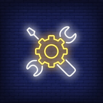 Neon icon of mechanic tools