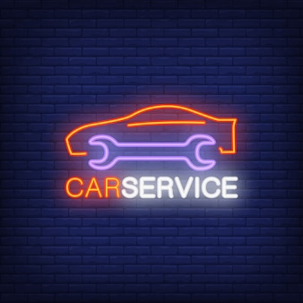 Neon icon of car service