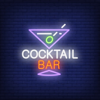 Neon icon of cocktail bar