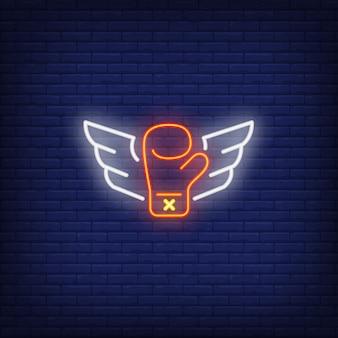 날개를 가진 비행 권투 글러브의 네온 아이콘