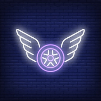 Neon icon of flying wheel
