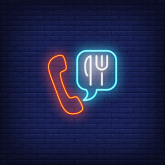 Neon icon of food ordering