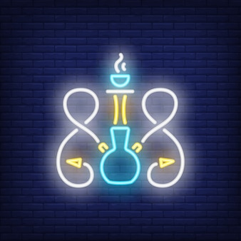 Neon icon of hookah with two hoses