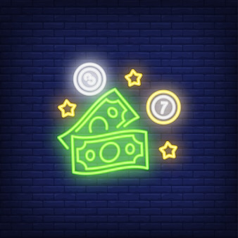Neon icon of lottery prize