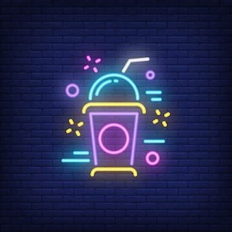 Neon icon of milkshake