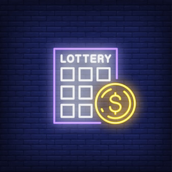 Neon icon of scratch ticket