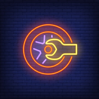 Neon icon of tire shop