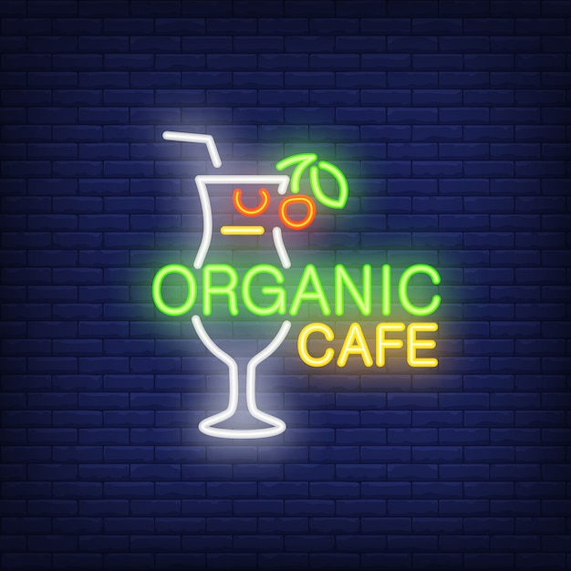 Neon icon of organic cafe