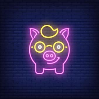 Neon icon of piggy nerd