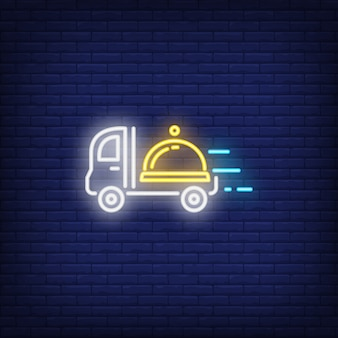 Neon icon of restaurant delivery service