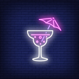Neon icon of umbrella cocktail