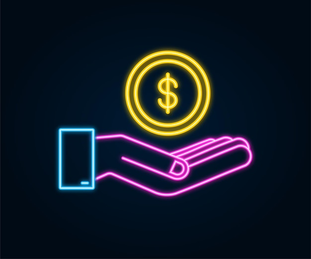 Neon icon with gold hand with dollar coin for concept design simple vector