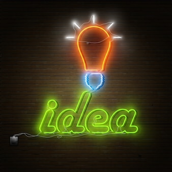 Neon idea text with electricity lightbulb