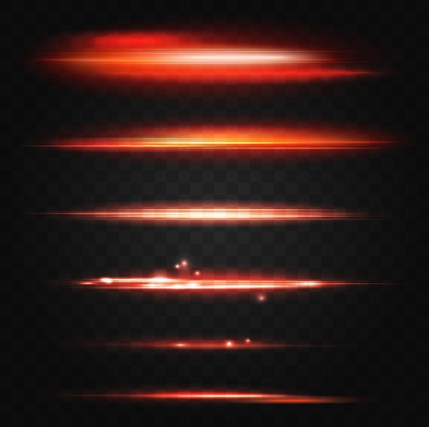 ネオン照らされた赤い線抽象的な光フレア効果セットuiデザイン要素が輝きます