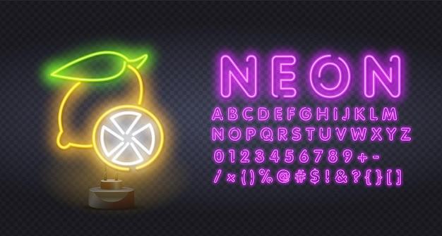Neon illumination of yellow lemon.