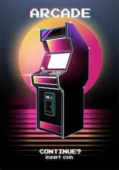 Neon illustration of arcade game machine. .