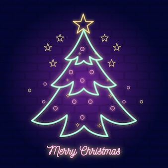 Neon illustration christmas tree
