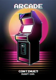 Неоновая иллюстрация игрового автомата. .
