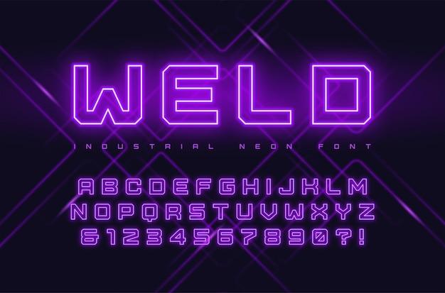 ネオンインダストリアルスタイルの書体、フォント、アルファベット、タイポグラフィを表示します。グローバルスウォッチ