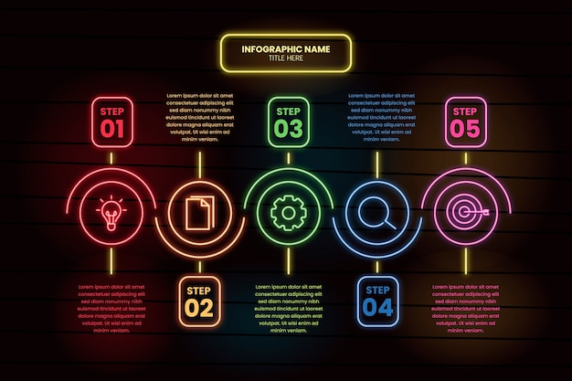 Neon infographic steps template