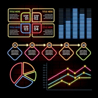 Neon infographic template pack