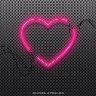 Неоновый изолированный фон сердца