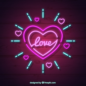 Neon isolated heart background