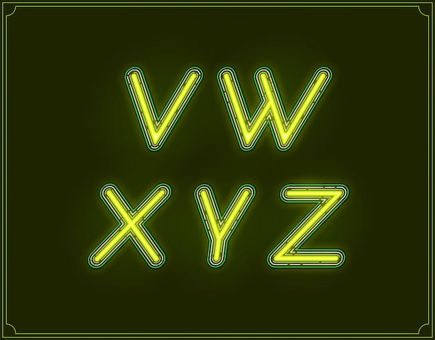 Неоновый курсивный шрифт типа алфавит. светится.