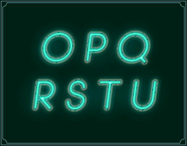 Neon italic font type alphabet. glowing in vector.