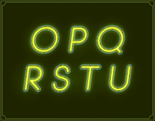 Neon italic font type alphabet. glowing in .