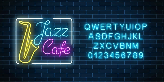 Neon jazz cafe and saxophone glowing sign with alphabet