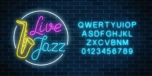Neon jazz cafe with live music and saxophone glowing sign with alphabet
