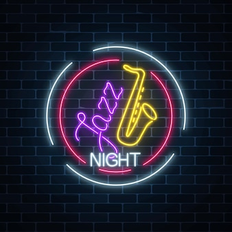 Neon jazz cafe with saxophone glowing sign in circle frame