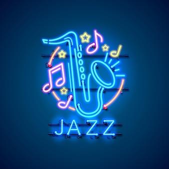 Неоновый лейбл музыкальный джазовый баннер.