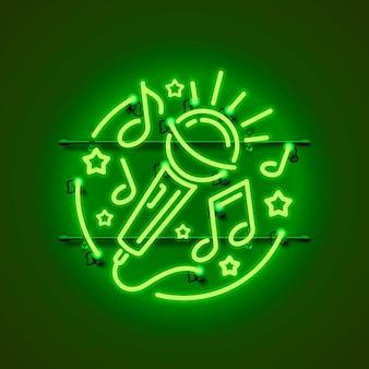 Неоновый лейбл музыкальный караоке баннер.