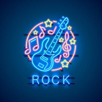 Неоновый лейбл музыкальный рок баннер.