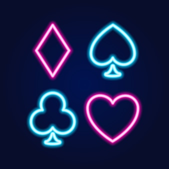 Neon lamp casino icon, poker or blackjack card games sign